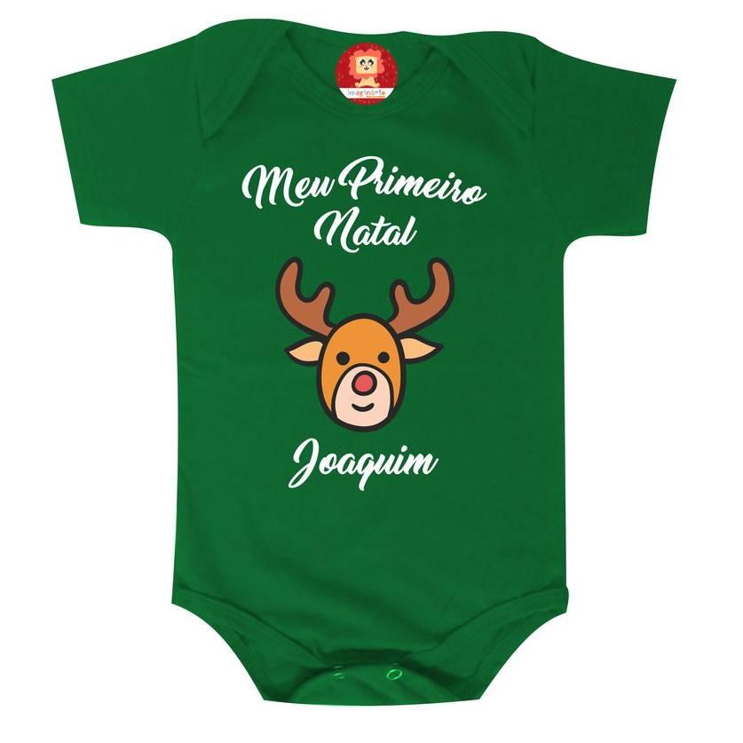 Body Personalizado Meu Primeiro Natal Rena com Nome