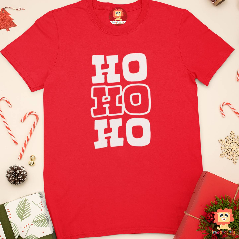 Camiseta Adulto de Natal Ho Ho Ho