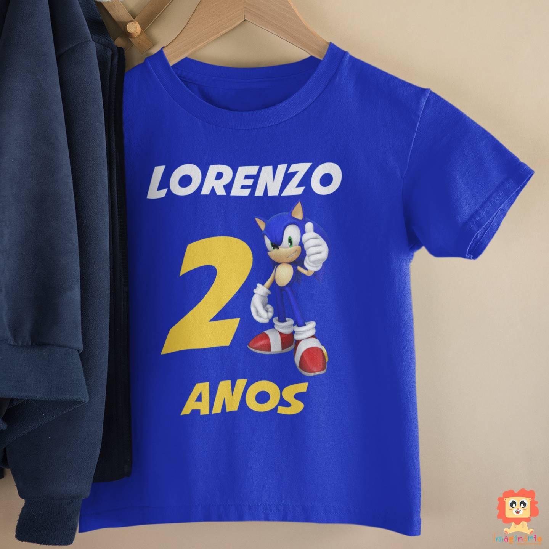 Camiseta de Aniversário Personalizada Sonic