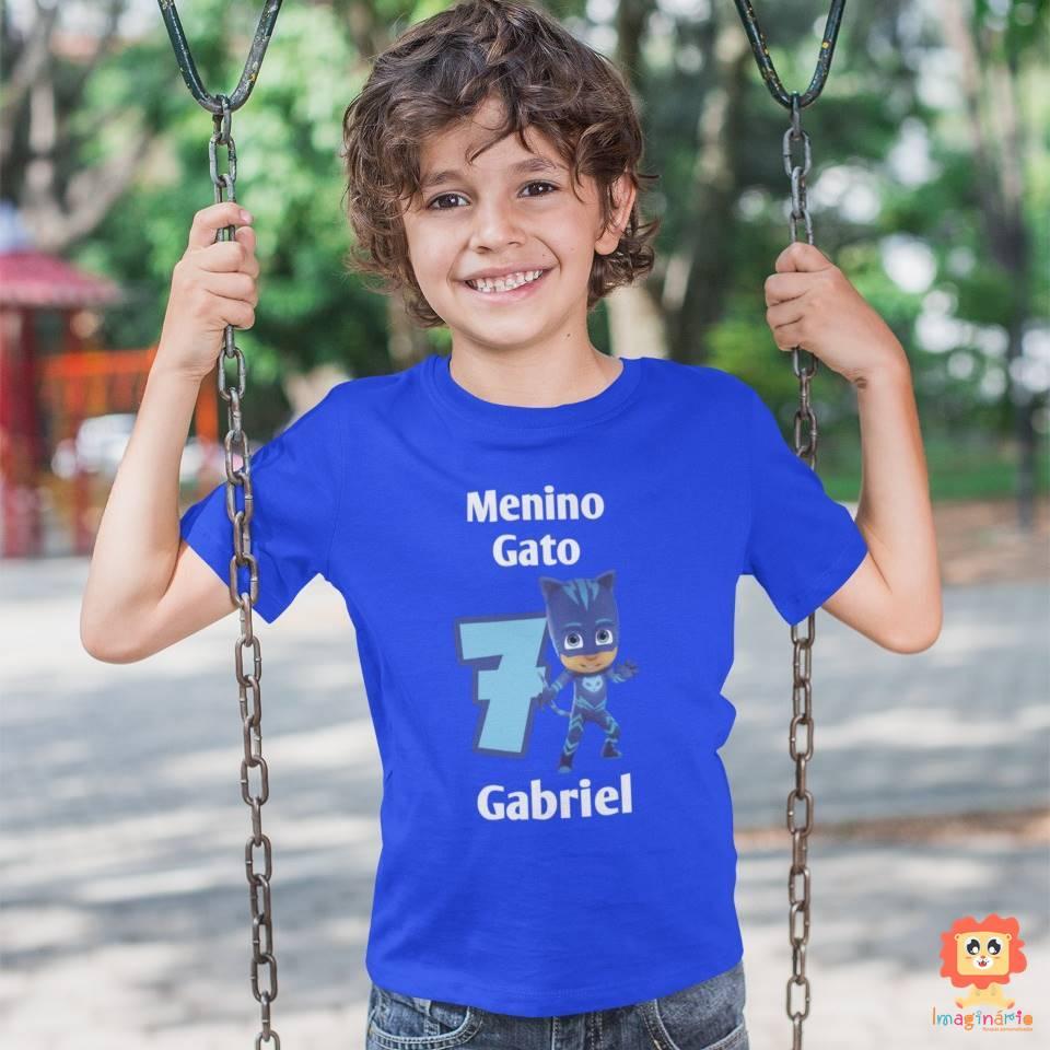 Camiseta Infantil Comemorativa Menino Gato PJ Masks