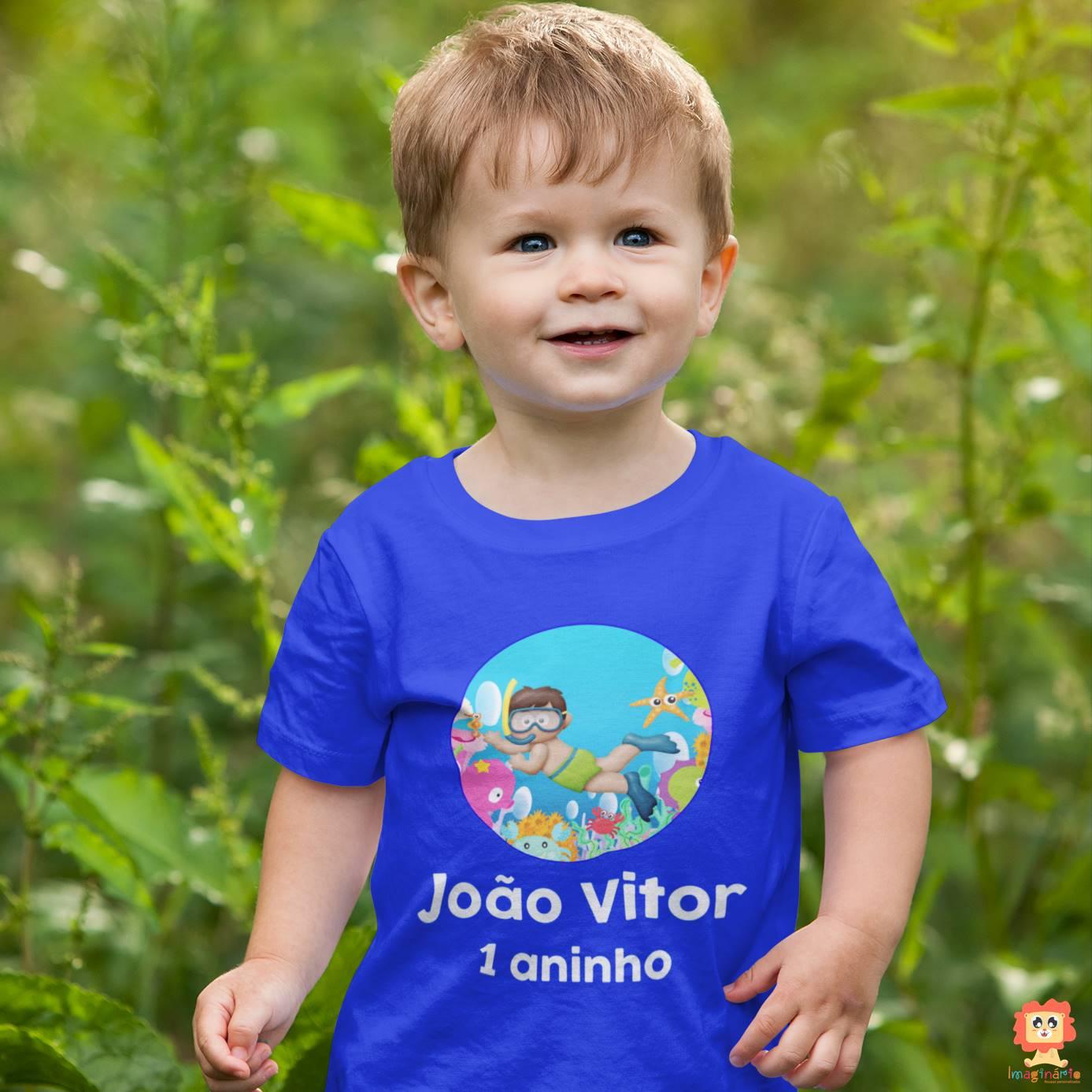 Camiseta Infantil de Aniversário Fundo do Mar