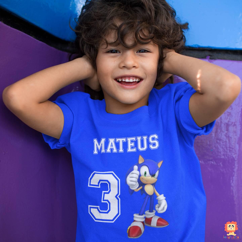 Camiseta Infantil de Aniversário Game Sonic