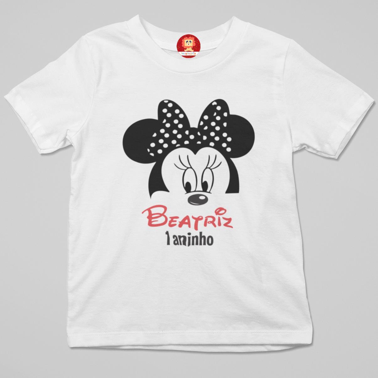 Camiseta Infantil Minnie Personalizada com Nome