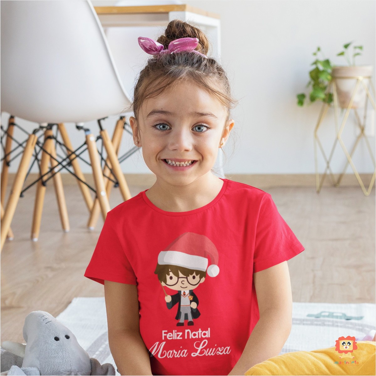 Camiseta Infantil ou Body Harry Potter Feliz Natal Nome Personalizado
