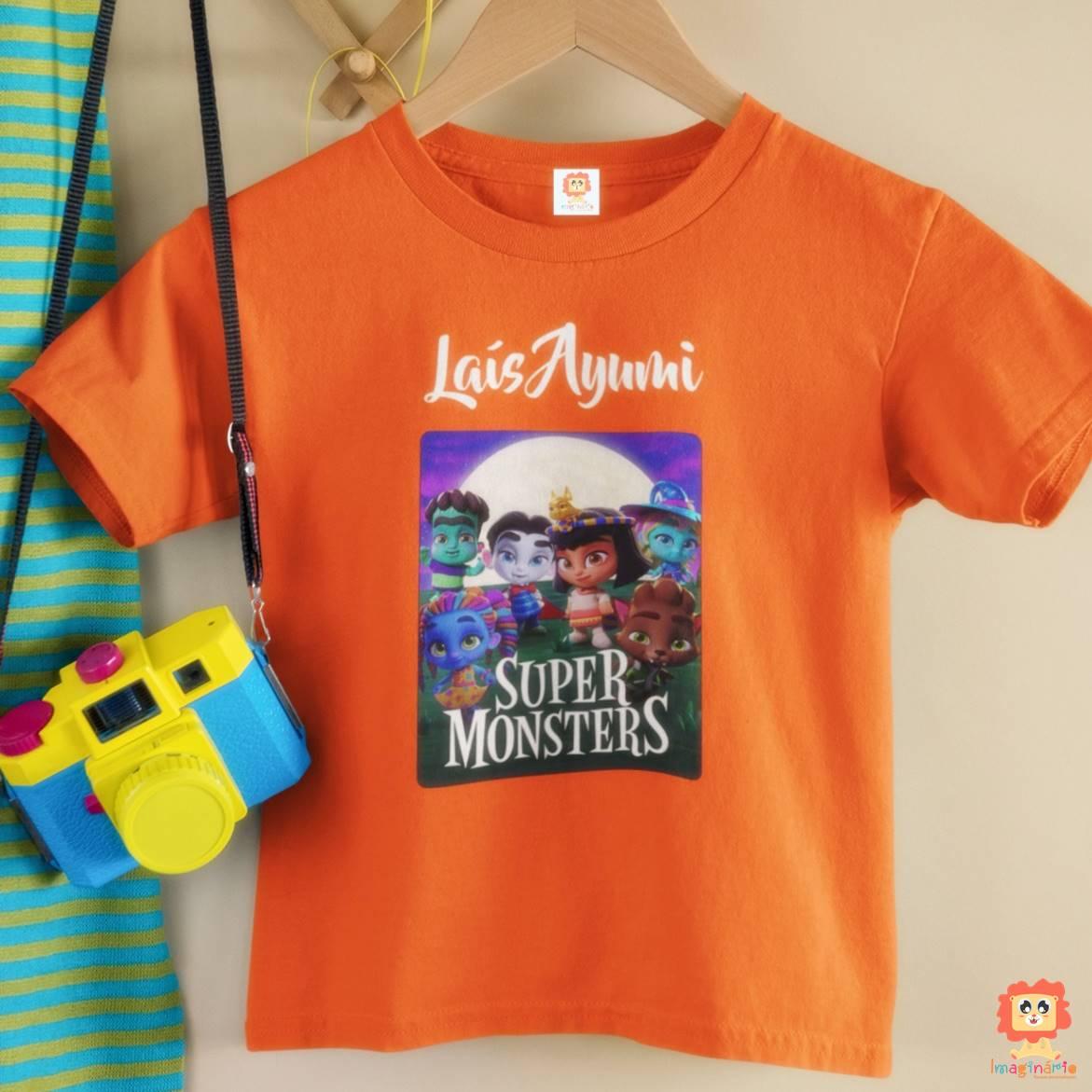 Camiseta Infantil ou Body Super Monstros Personalizado com Nome