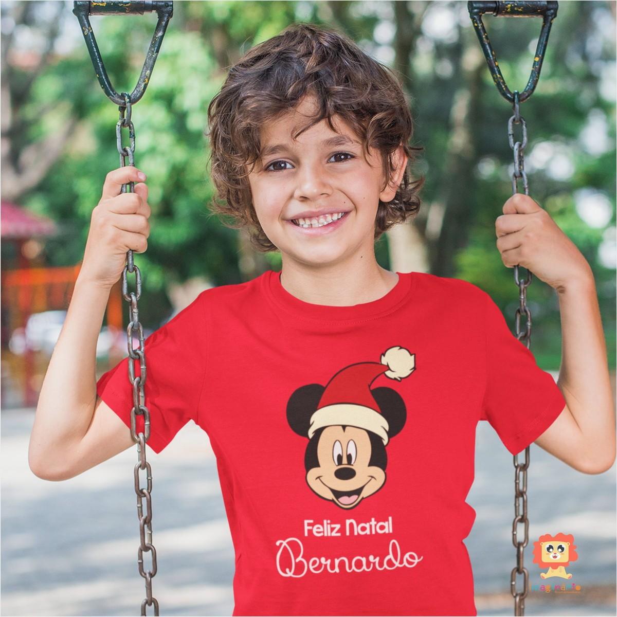 Camiseta ou Body Feliz Natal Mickey Com Nome Personalizado