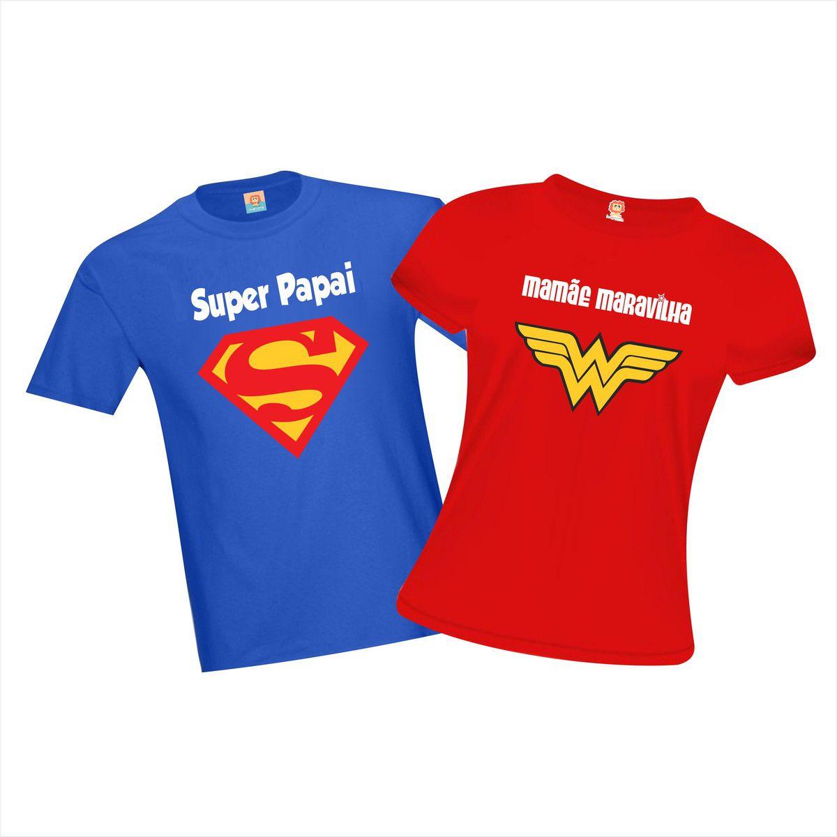 Camiseta Super Papai e Mamãe Maravilha