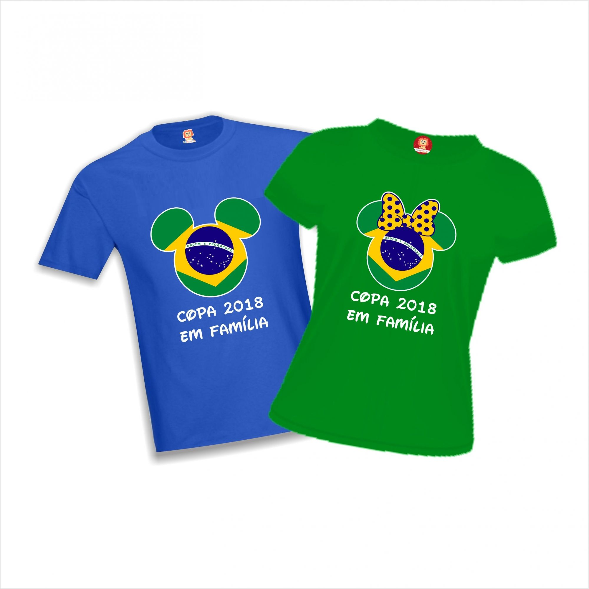 Camisetas Copa do Mundo Brasil Mickey e Minnie