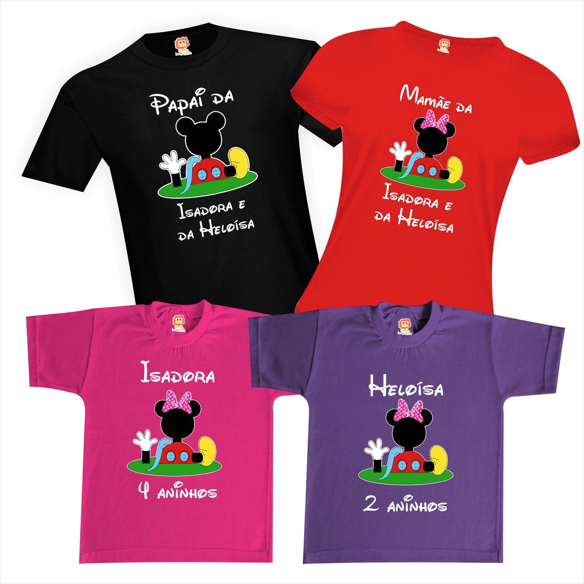 Camisetas de Aniversário A Casa do Mickey e Minnie da Disney Festa