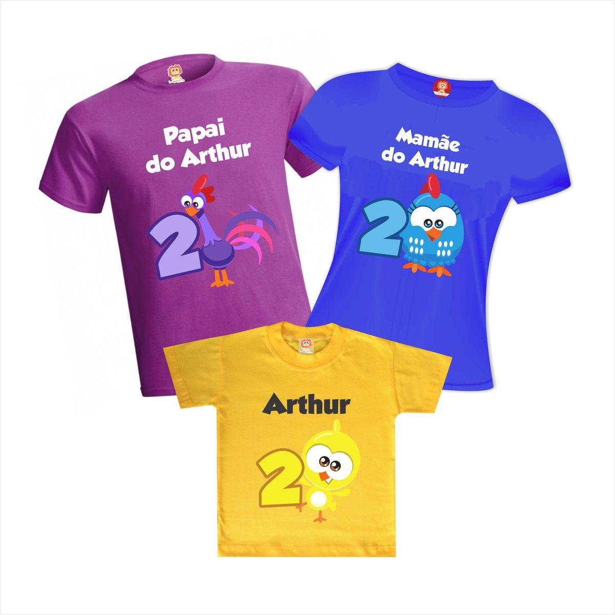 Camisetas de Aniversário Galinha Pintadinha Mini Nome Personalizado