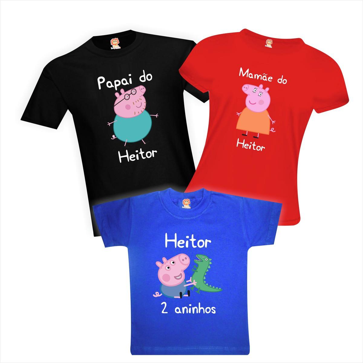 Camisetas de Aniversário George Pig Personalizadas Com Nome