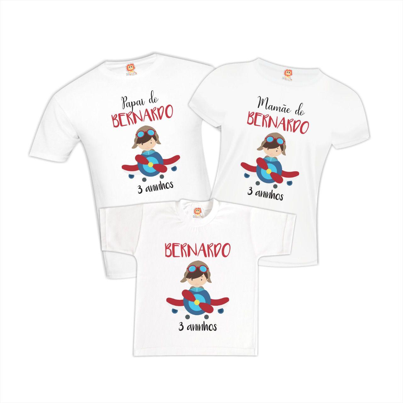 Camisetas de Aniversário Menino Aviador Avião
