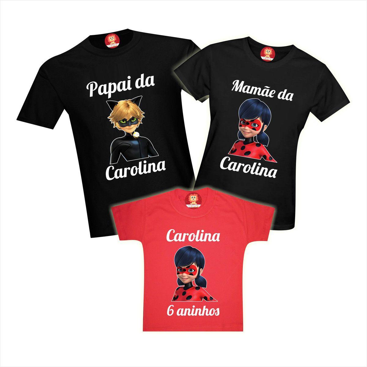 Camisetas de Aniversário Miraculous Ladybug Cat Noir