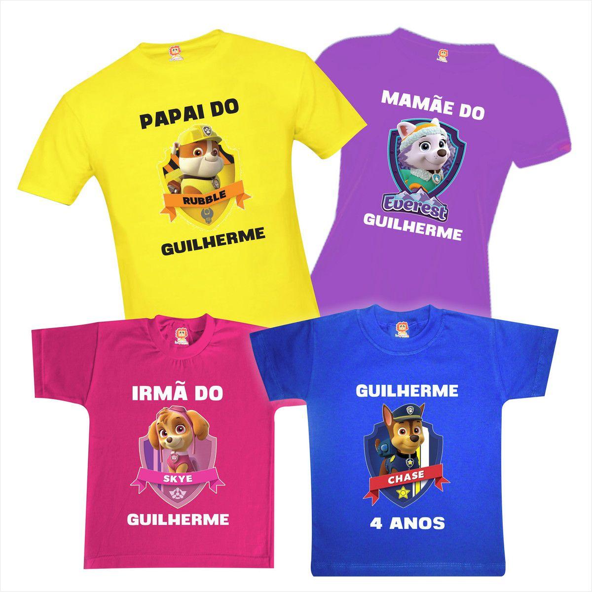 Camisetas de Aniversário Patrulha Canina Chase Sky Rubble Everest