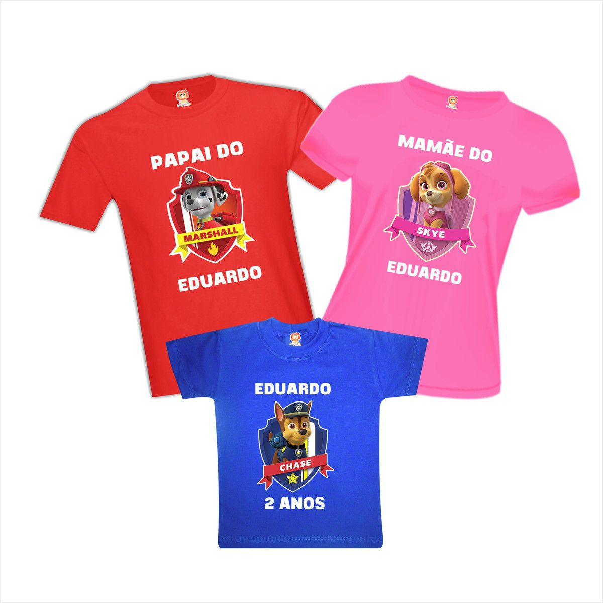 Camisetas de Aniversário Patrulha Canina Chase Skye Marshall
