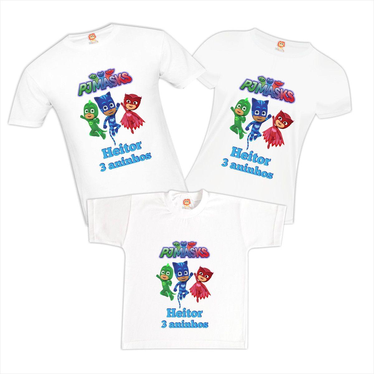 Camisetas de Aniversário PJ Masks 100%Algodão