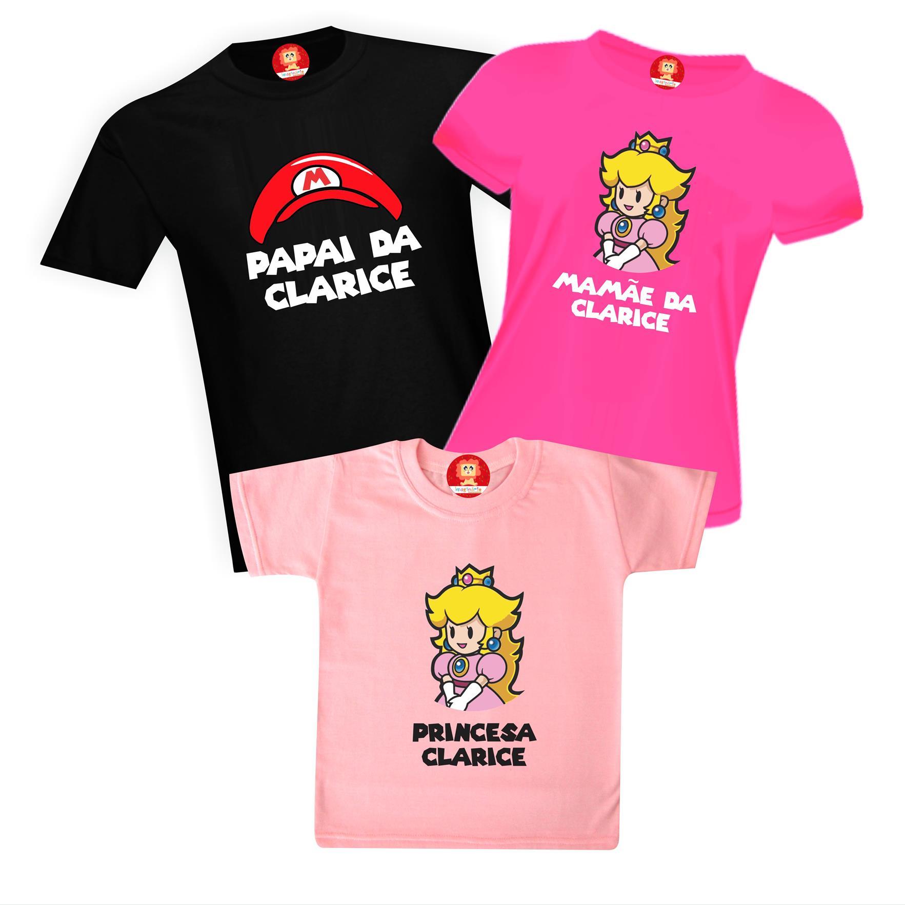 Camisetas de Aniversário Princesinha do Super Mario