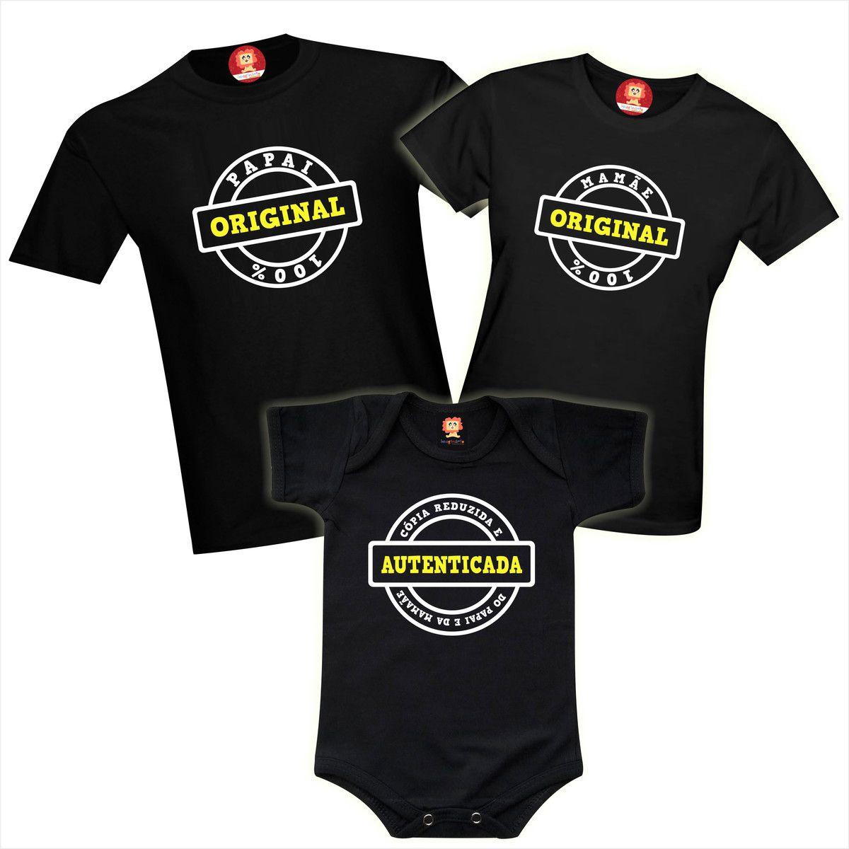 Camisetas e Roupinha de Bebê Original e Cópia do Papai e da Mamãe Família