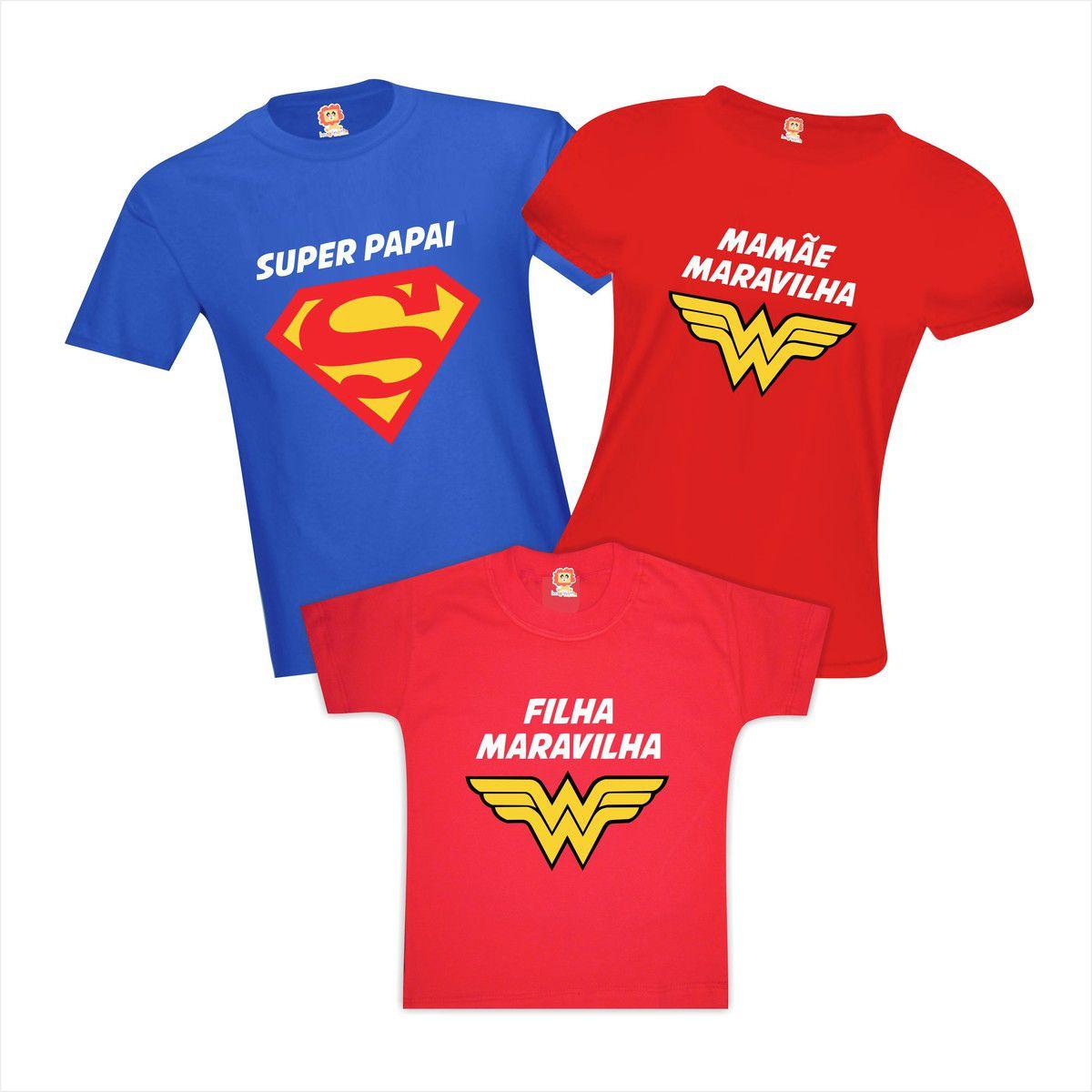 Camisetas Família Heróis Super Papai Mamãe e Filha Maravilha