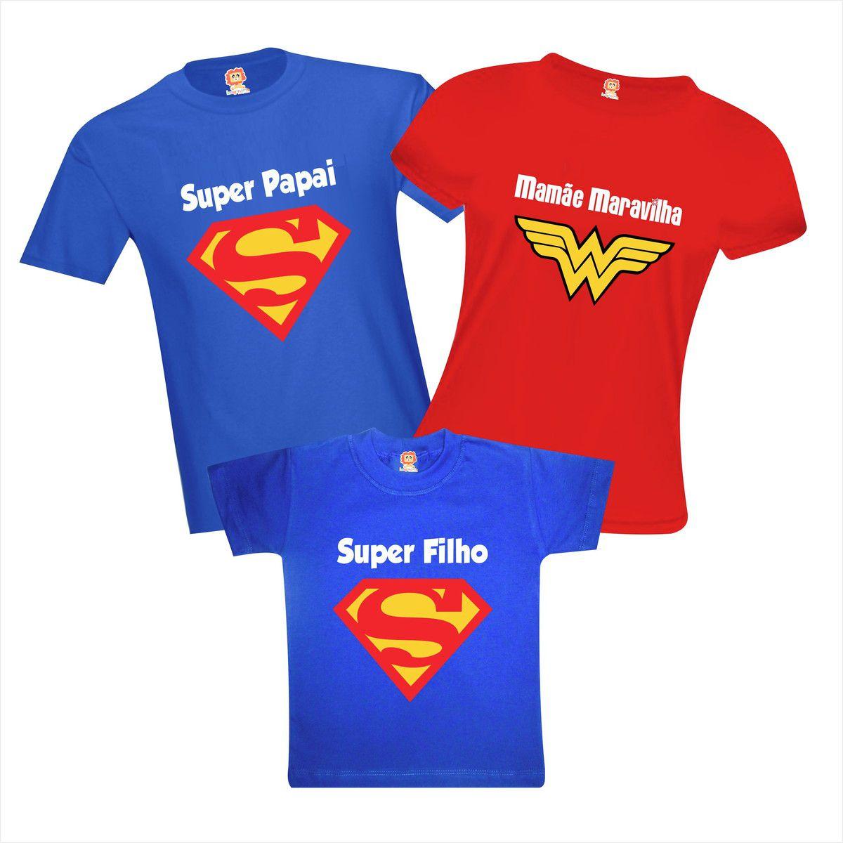Camisetas Família Super Papai Filho Mamãe Maravilha