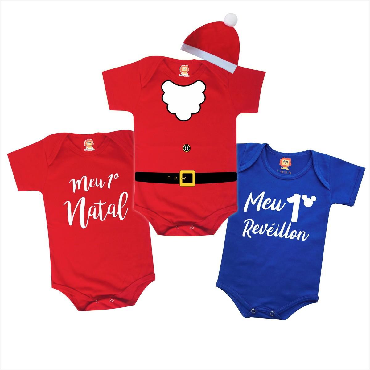 Combo 3 Roupinhas de Bebê Bebê Noel Meu Primeiro Natal e Revéillon