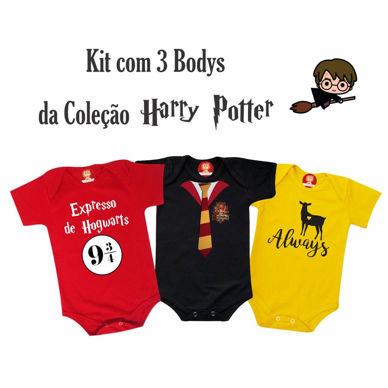 Combo 3 Roupinhas Harry Potter Grifinória Expresso Hogwarts Always