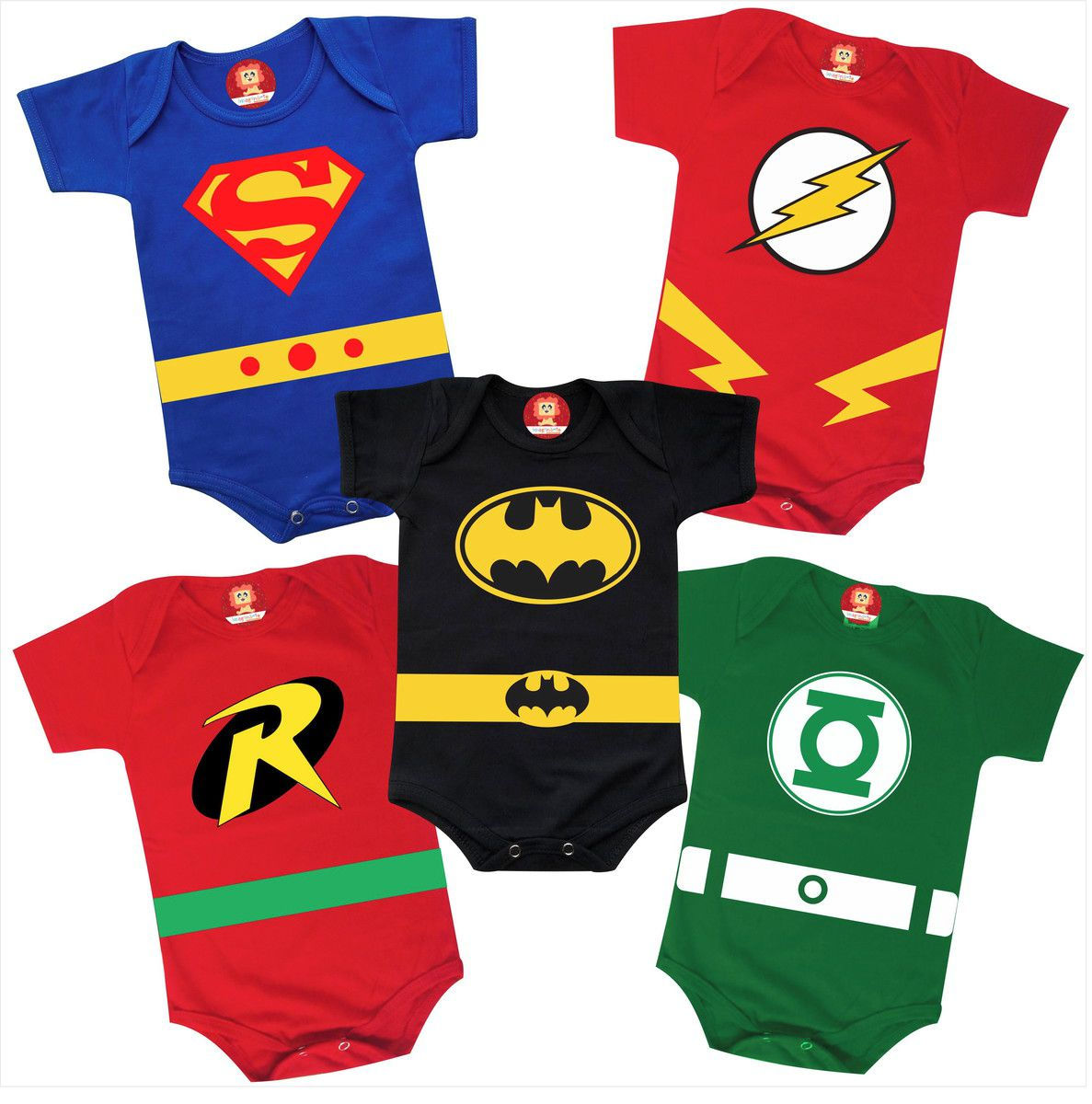 Combo 5 Roupinhas de Heróis Batman Super Man Flash Robin Lanterna Verde