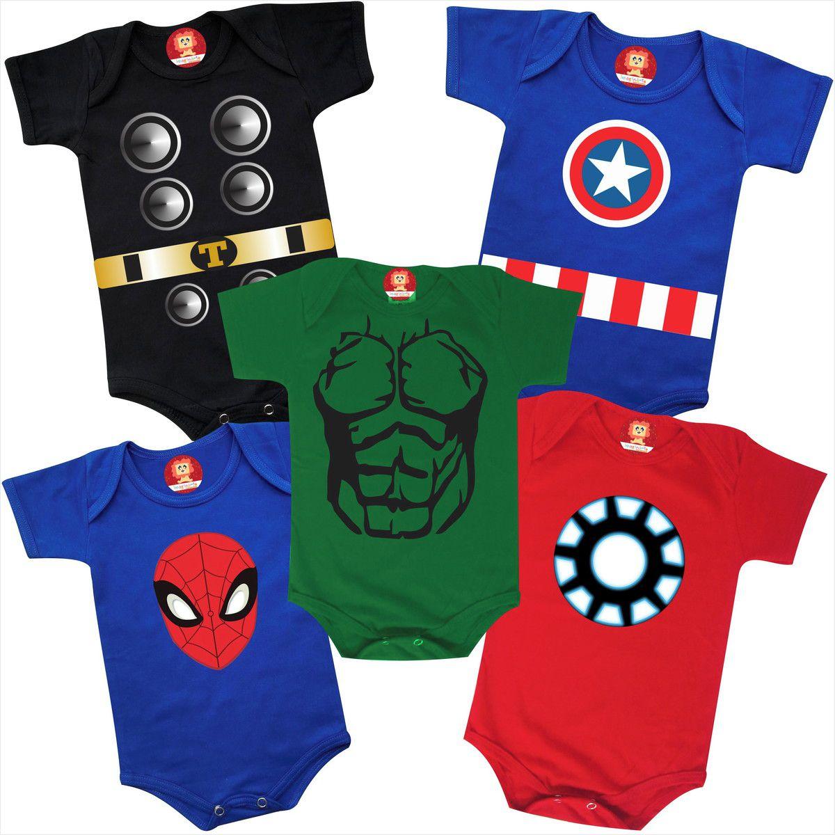 Combo 5 Roupinhas Heróis Thor Homem de Ferro Capitão América Homem Aranha Hulk Leve 5 Pague 4