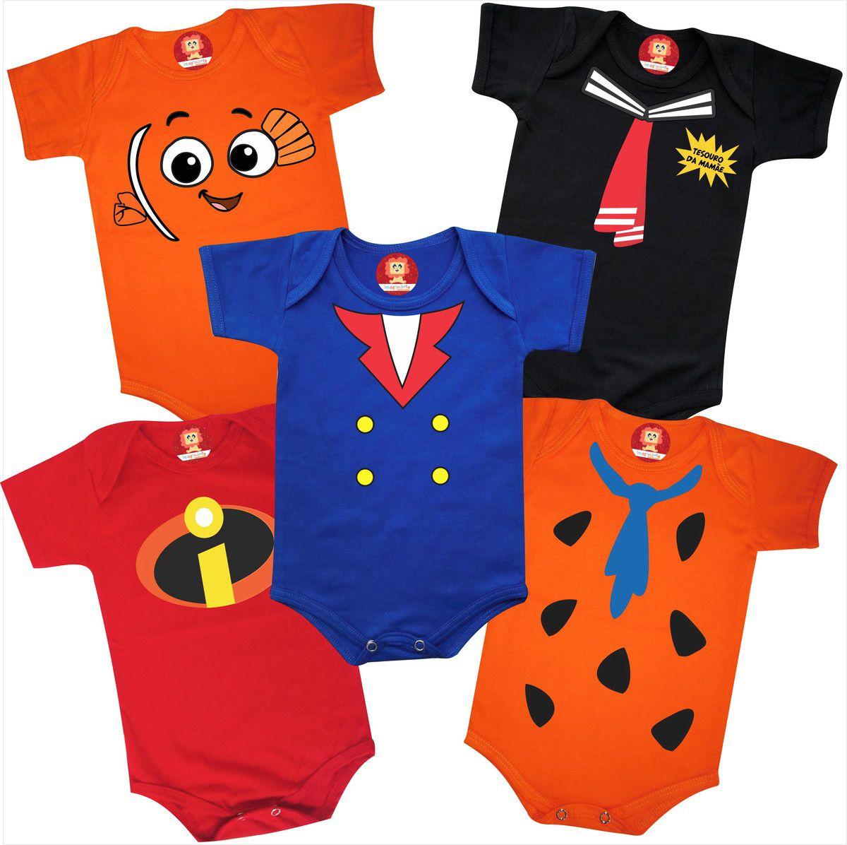 Combo Roupinhas de Bebê Divertidas Nemo Fred Flinstones Kiko  Pequeno Príncipe Incrível Leve 5 Pague 4