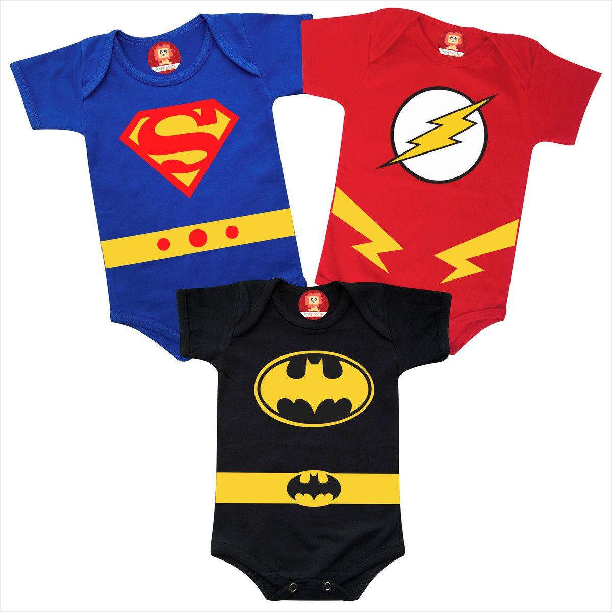 Combo Roupinhas Heróis Super Man Batman Flash