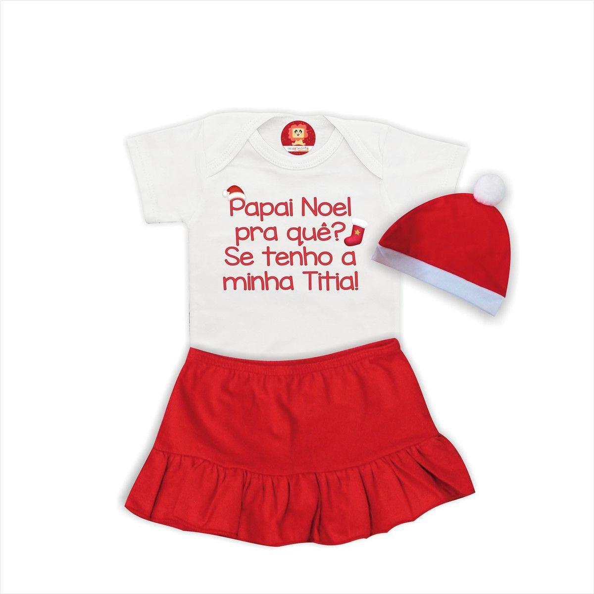 Conjunto Infantil Body, Saia e Gorro Papai Noel Titia