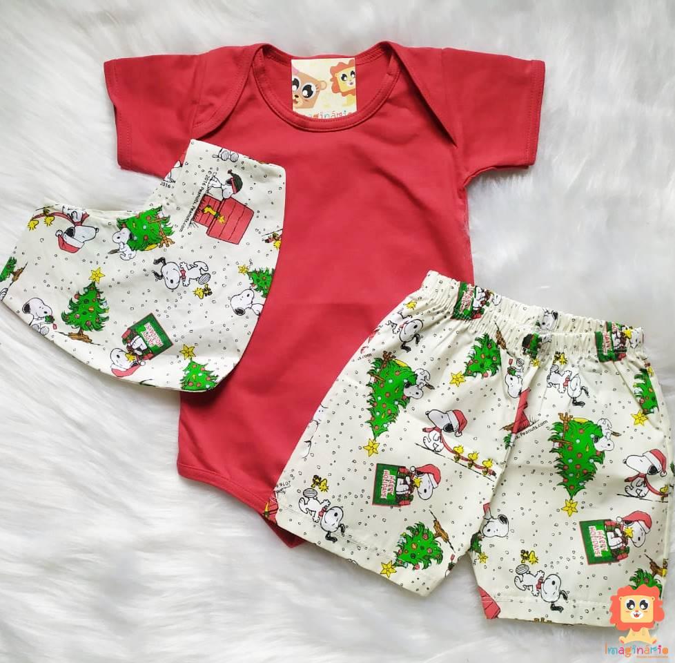 Conjunto Infantil com Body, Babador e Shorts