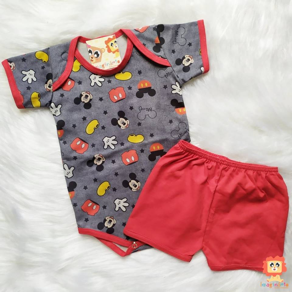 Conjunto Infantil com Body e Shorts Disney Mickey