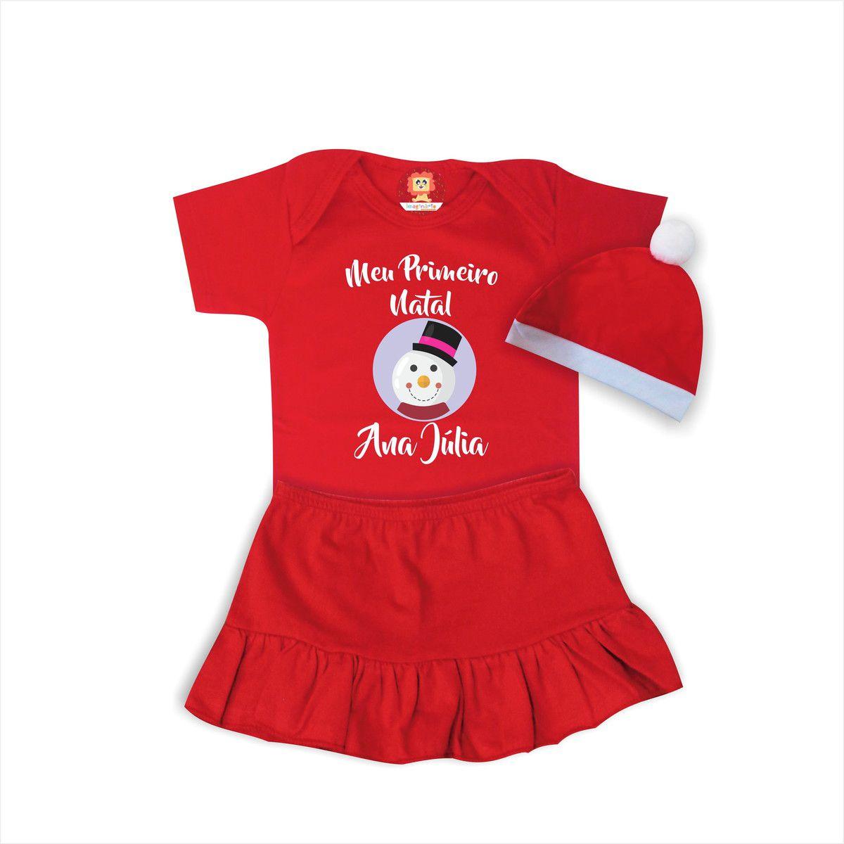 Conjunto Infantil com Body, Saia e Gorro de Natal