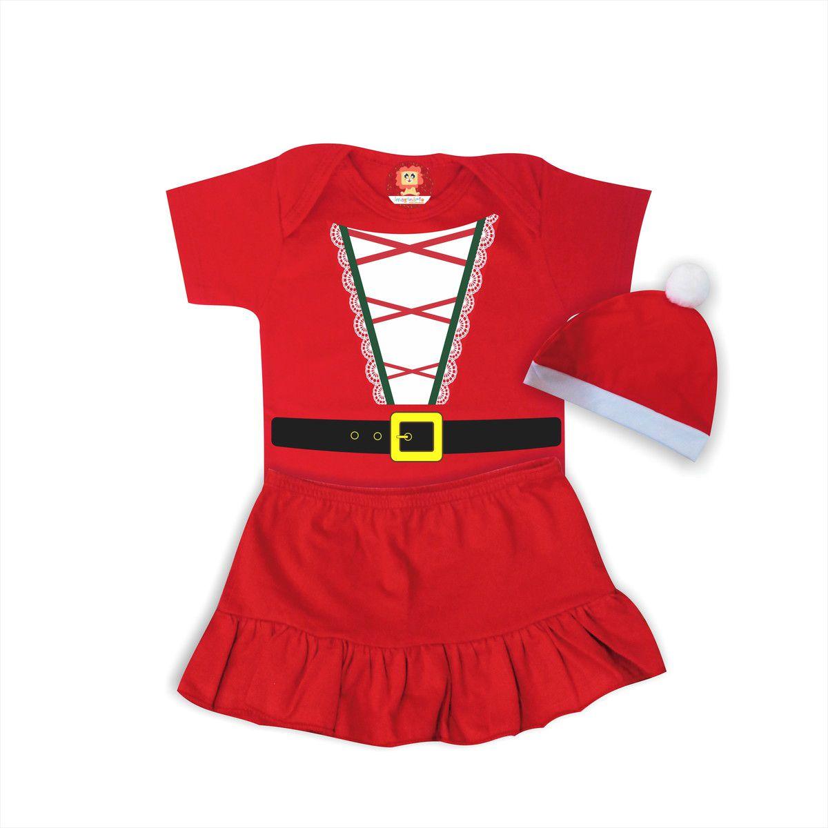 Conjunto Infantil com Body, Saia e Gorro Mamãe Noel