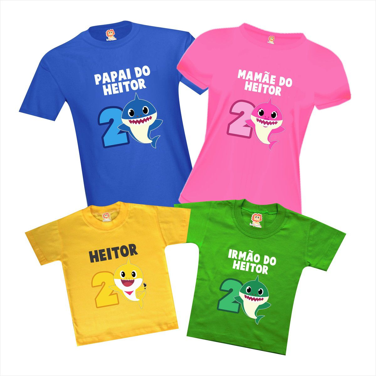 Kit 4 Camisetas de Aniversário Baby Shark Tubarão Personalizadas Com Nome