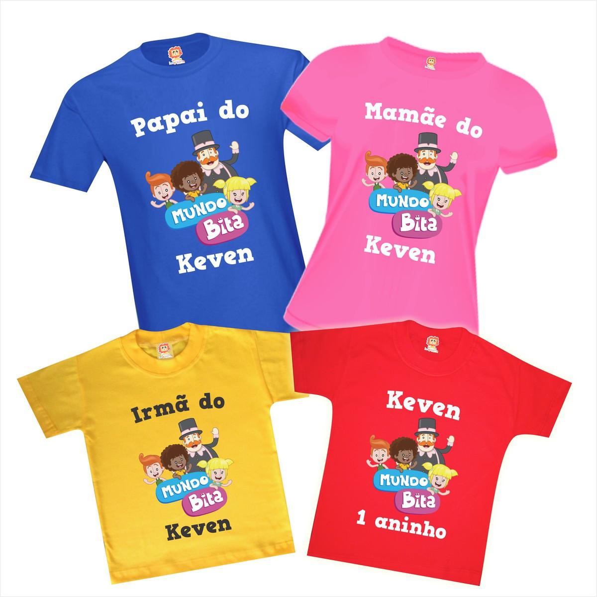 Kit 4 Camisetas de Aniversário Mundo Bita Personalize Com Nome