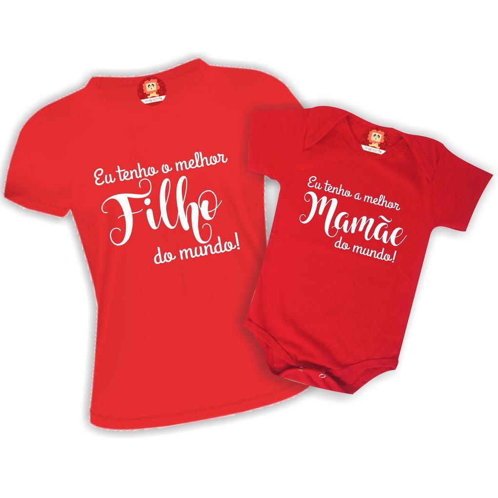 Kit Body e Camiseta Melhor Filho(a) Melhor Mamãe