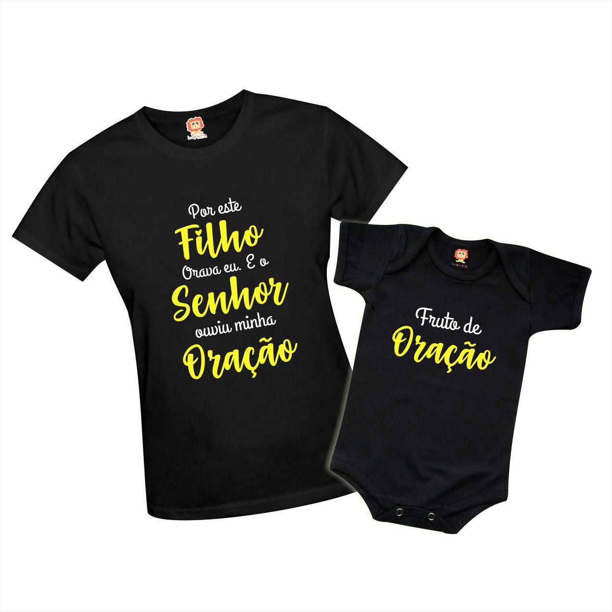 Kit Body e Camiseta Dia das Mães Por Este Filho Orava Eu