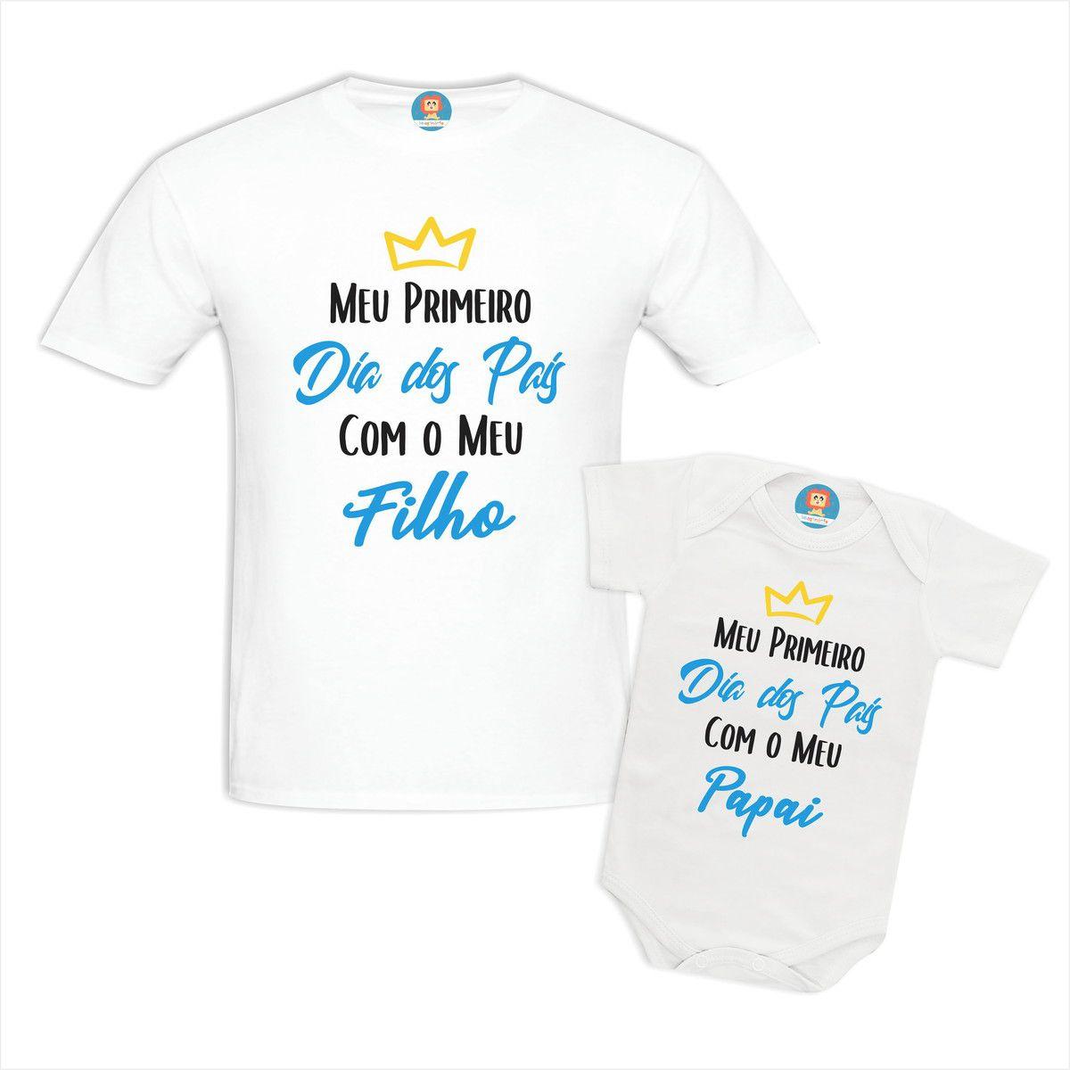 Kit Body e Camiseta Meu Primeiro Dia dos Pais Com Meu Filho