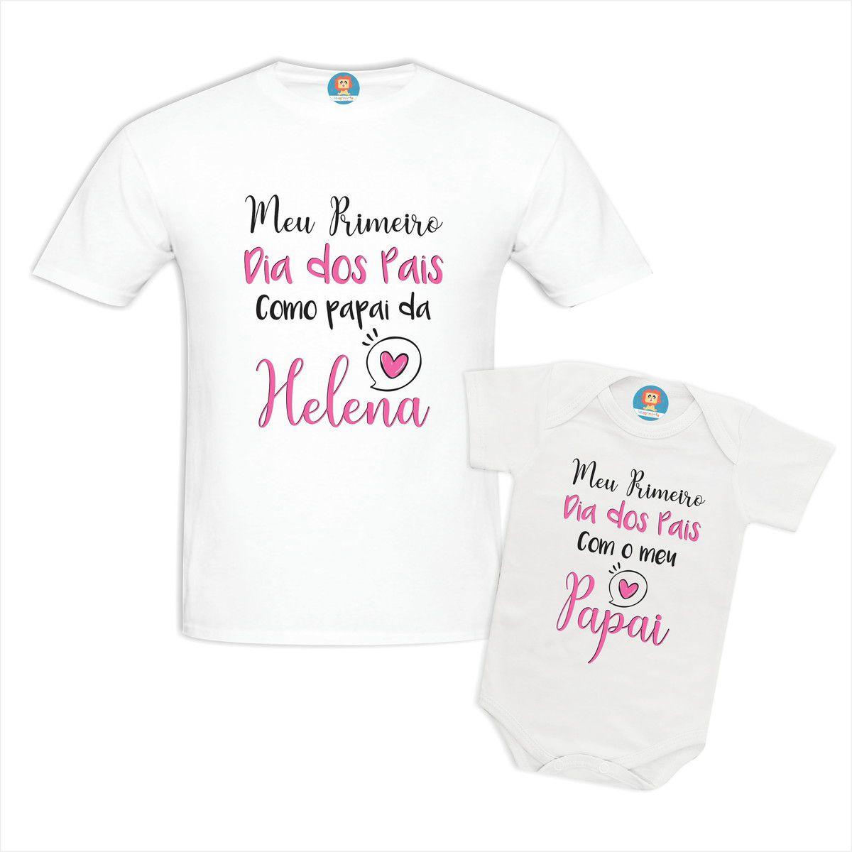 Kit Body e Camiseta Primeiro Dia dos Pais Com Nome Personalizado