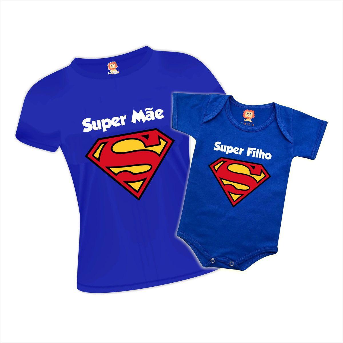 Kit Body e Camiseta Super Mãe e Super Filho