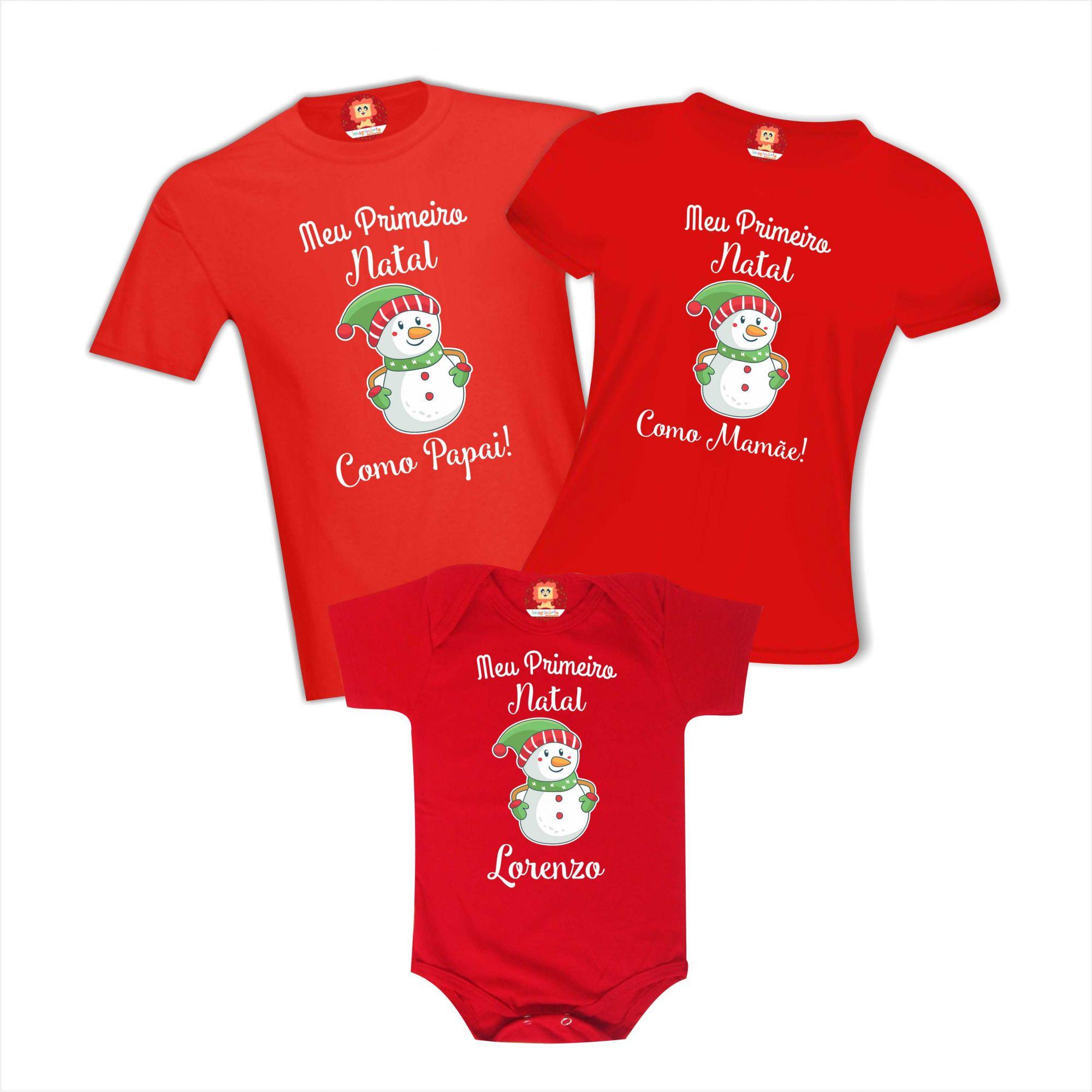 Kit Body e Camisetas Meu Primeiro Natal Boneco de Neve Papai Mamãe Bebê Personalizado Com Nome