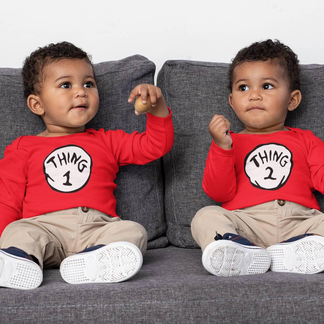 Kit Body Roupinha de Bebê Thing 1 e 2 Coisa 1 e 2 - Irmãos Gêmeos