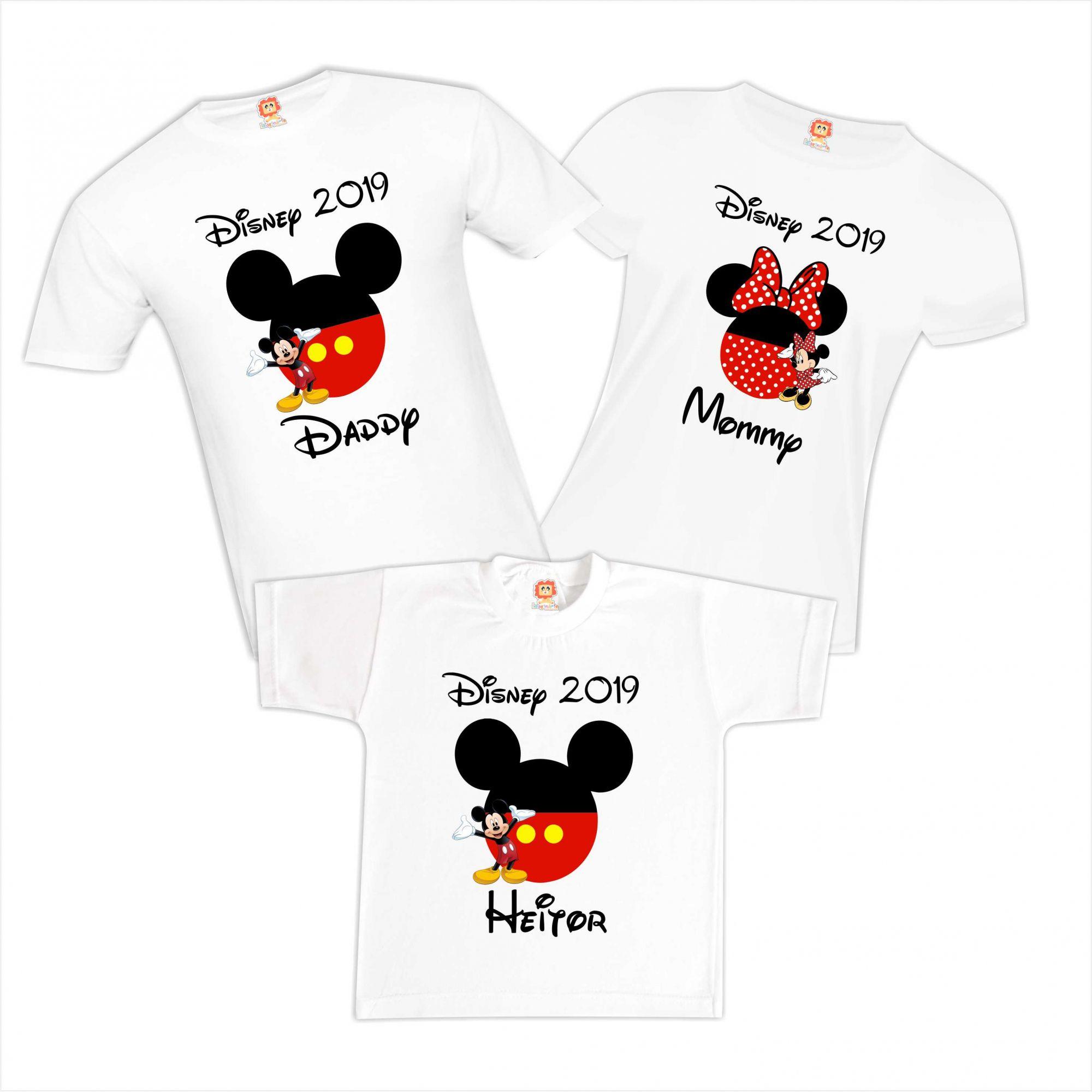 Kit Camisas Disney Personalizadas Mickey Minnie Orlando Family Trip