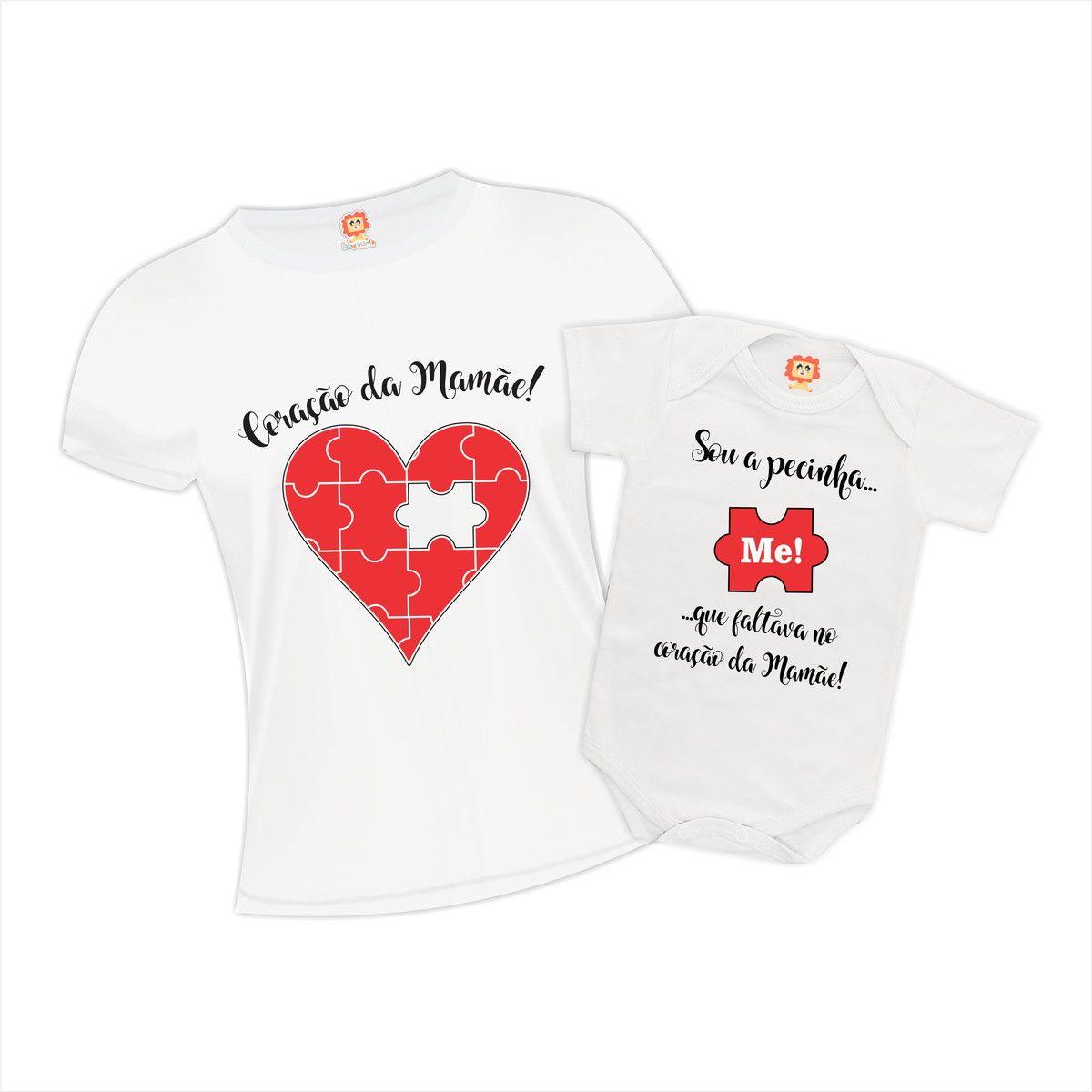 Kit Camiseta e Body Coração da Mamãe