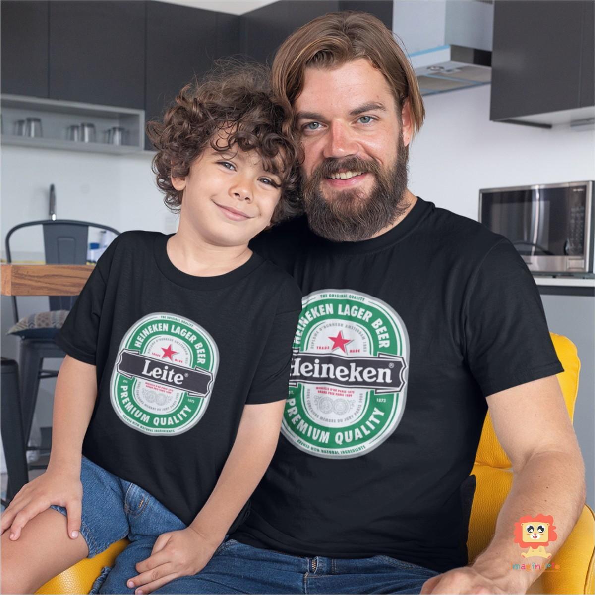 Kit Camiseta e Body de Bebê Heineken & Leite Dia dos Pais