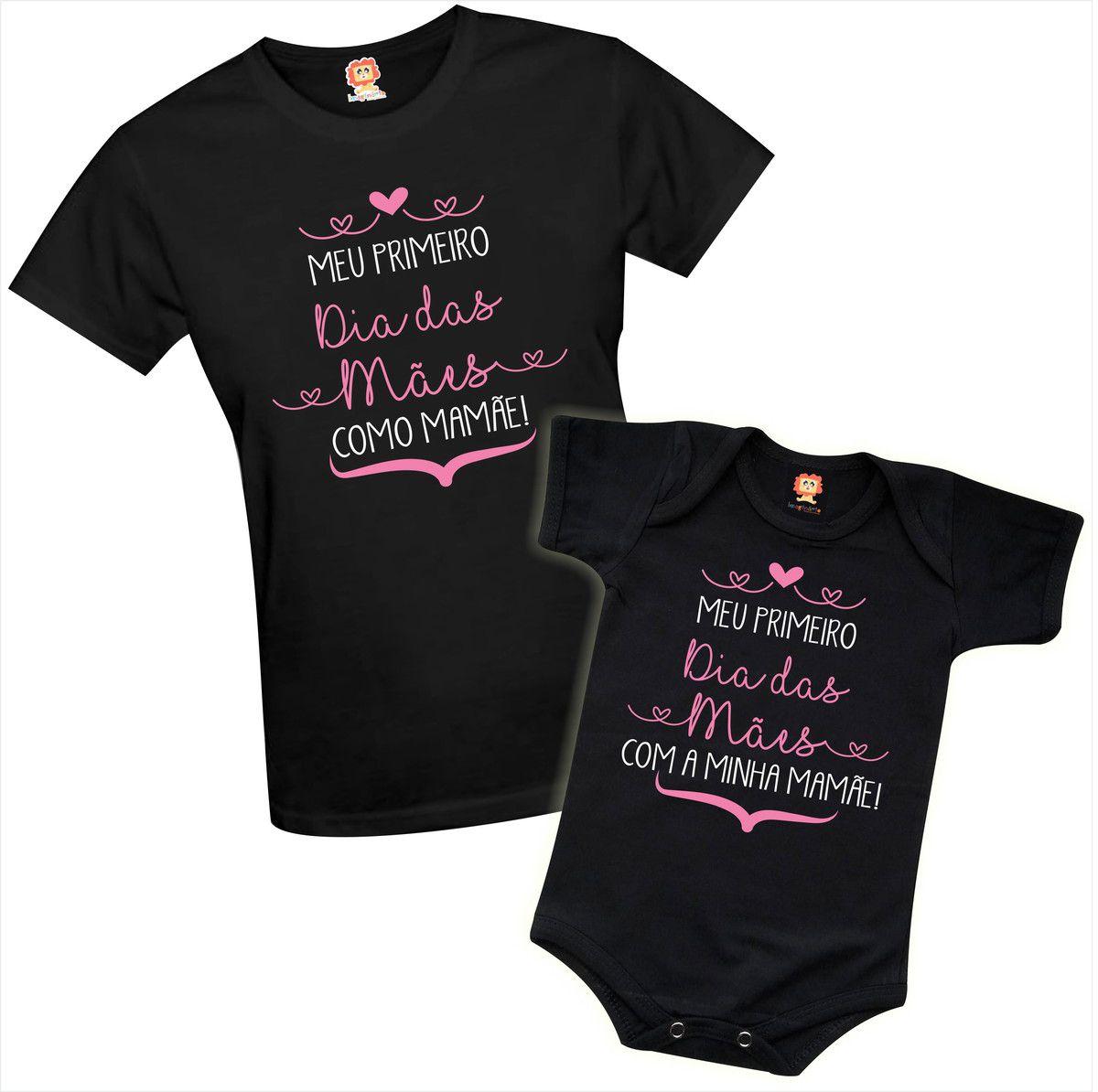 Kit Camiseta e Body de Bebê Meu Primeiro Dia das Mães Menina