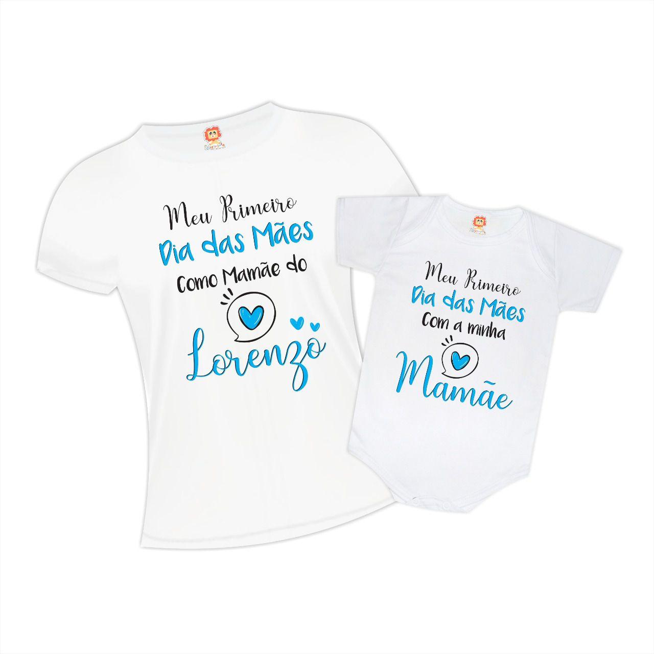 Kit Camiseta e Body de Bebê Primeiro Dia das Mães