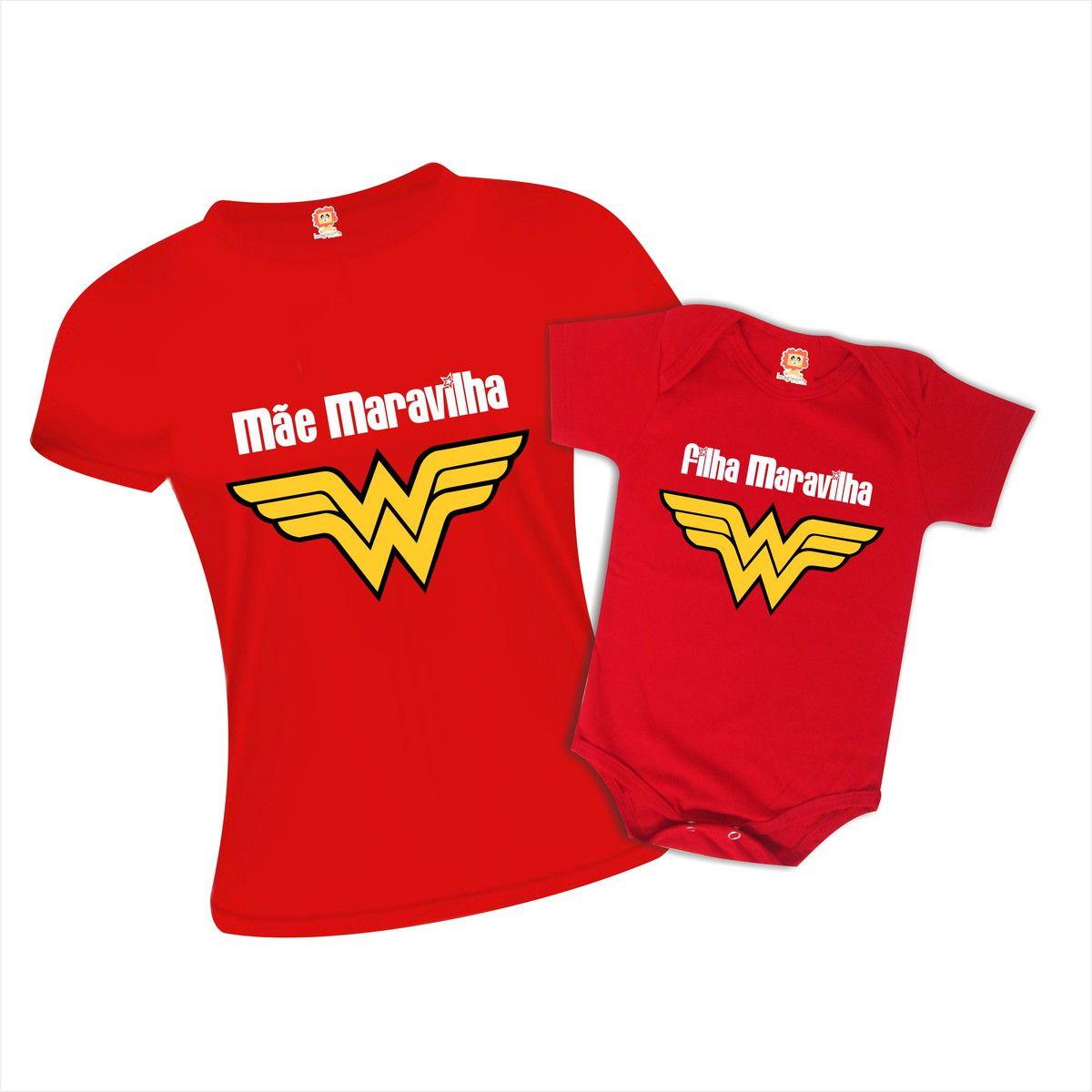 Kit Camiseta e Body Mãe e Filha Maravilha